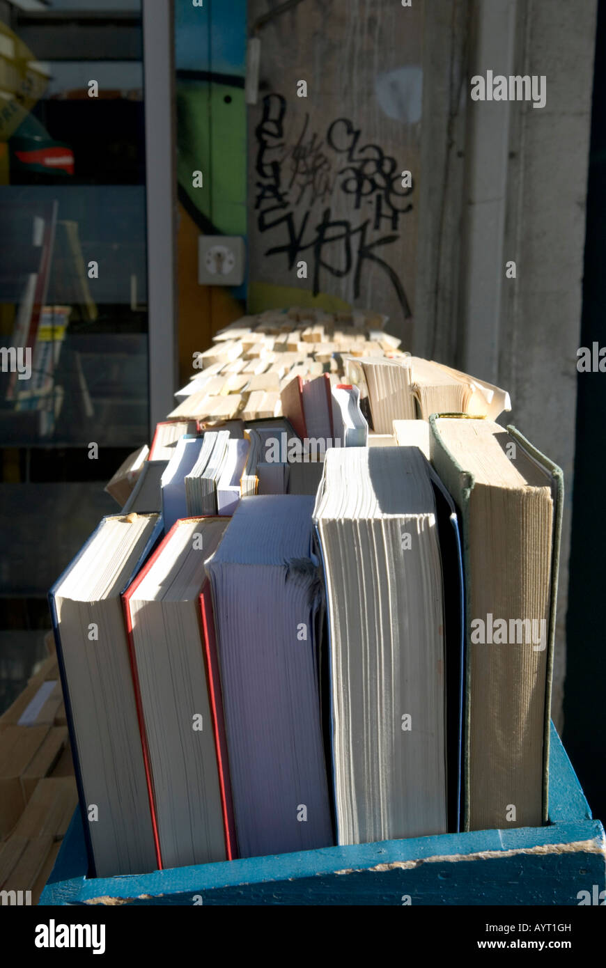 close up of second hand books at bookstore in france - Stock Image