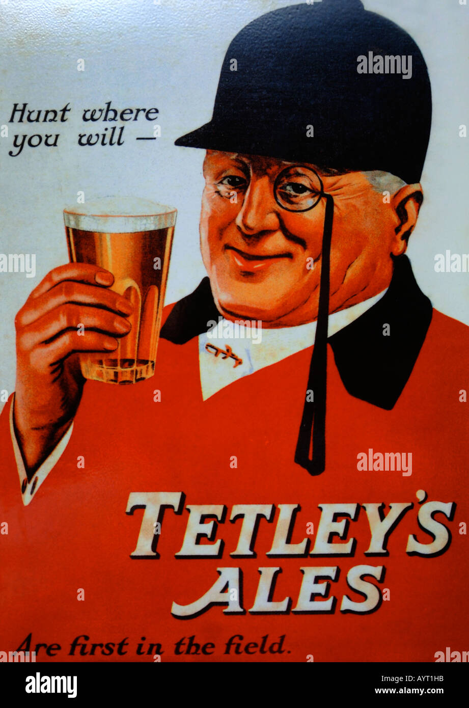 Old fashioned poster for Tetley's Ales, Britain UK - Stock Image