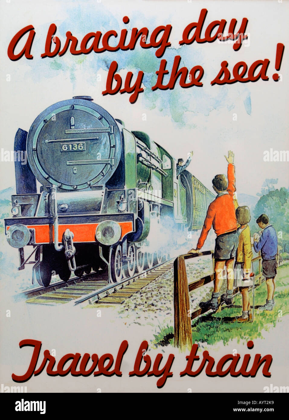 Old fashioned Travel by train poster - Stock Image