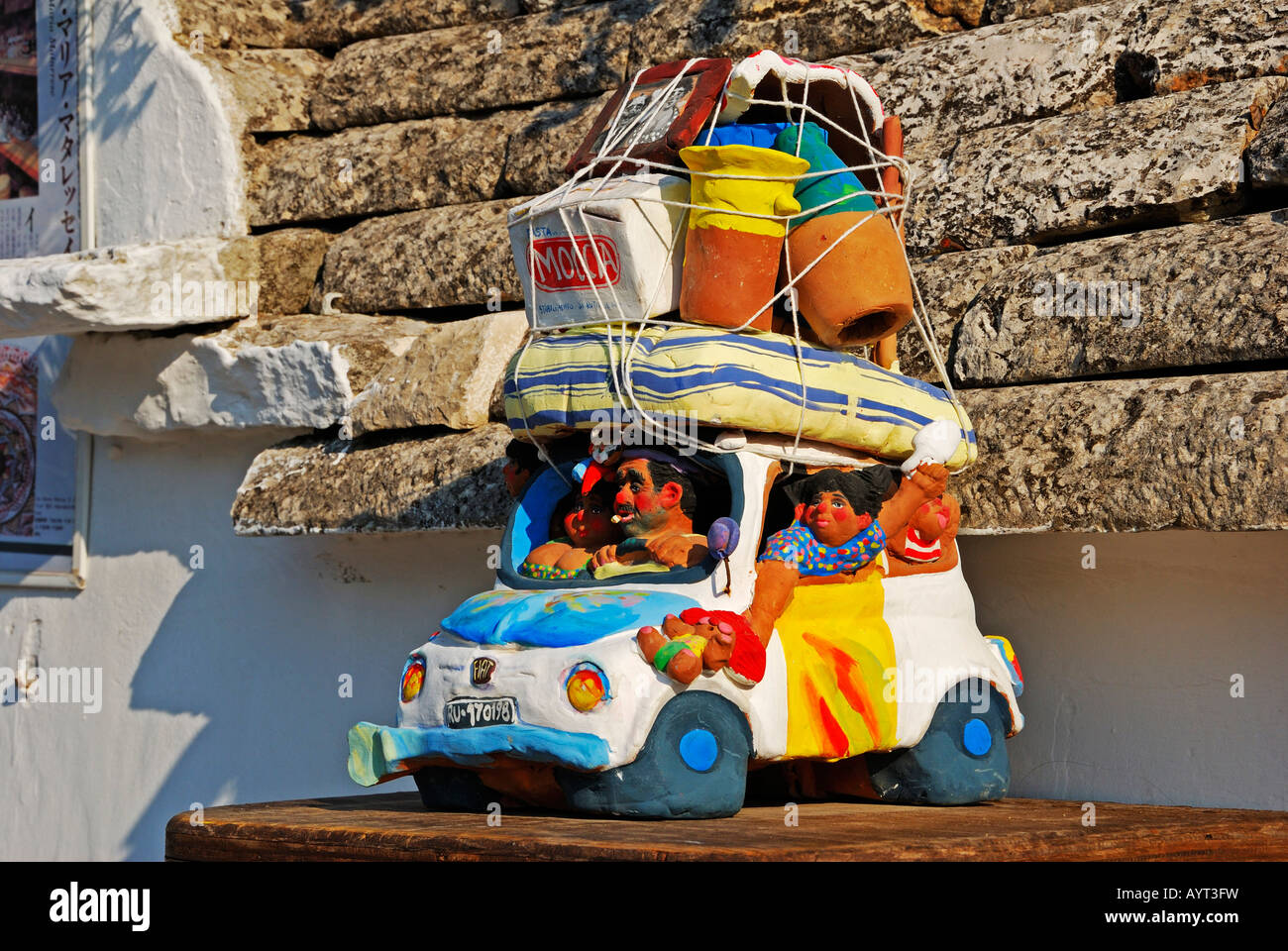 Sculpture Of A Family Going On Vacation With Fully Loaded Car Alberobello Valle DItrea Bari Province Apulia Southern It