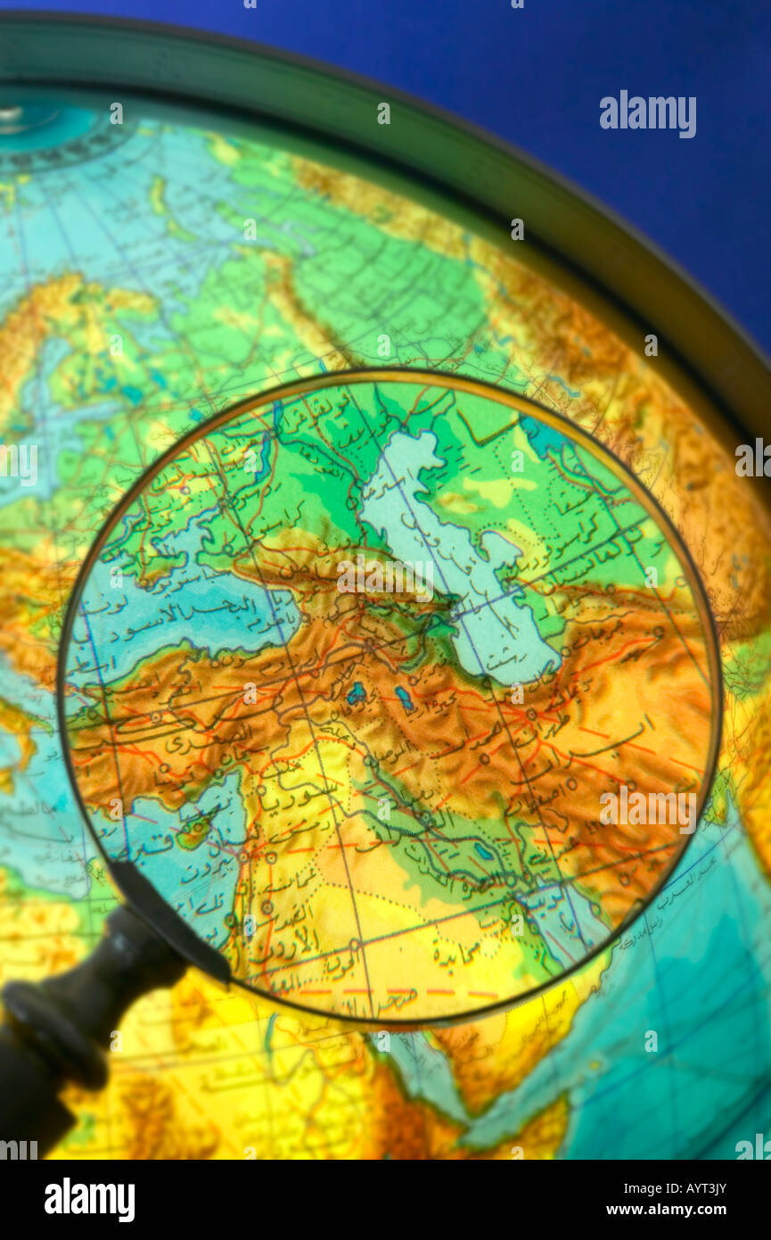 Middle east countries world globe written in arabic seen through middle east countries world globe written in arabic seen through magnifying glass gumiabroncs Choice Image