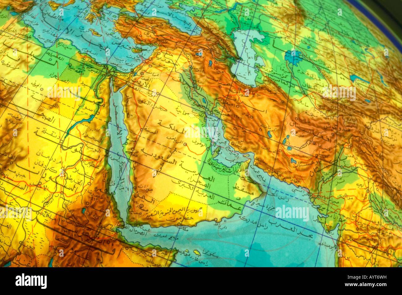 Part of world globe written in Arabic Middle East Region - Stock Image
