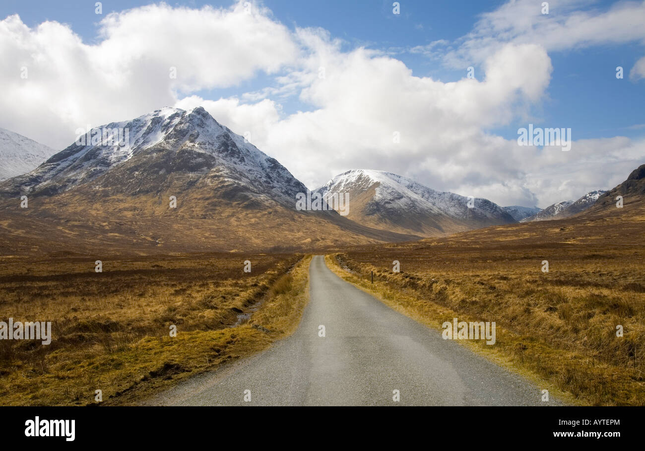 Spring landscapes on A82 Road and Buachaille Etive Mor at Glencoe, Glen Coe in the Lochaber area of the Scottish - Stock Image