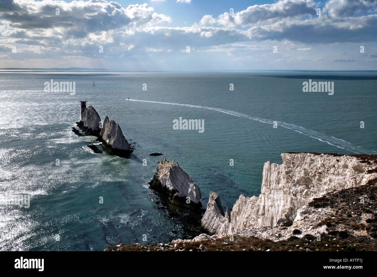 A view of the Solent from the Needles, Isle of Wight - Stock Image