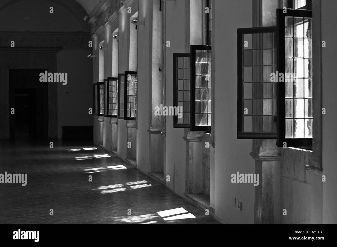 hallway with open windows - Stock Image