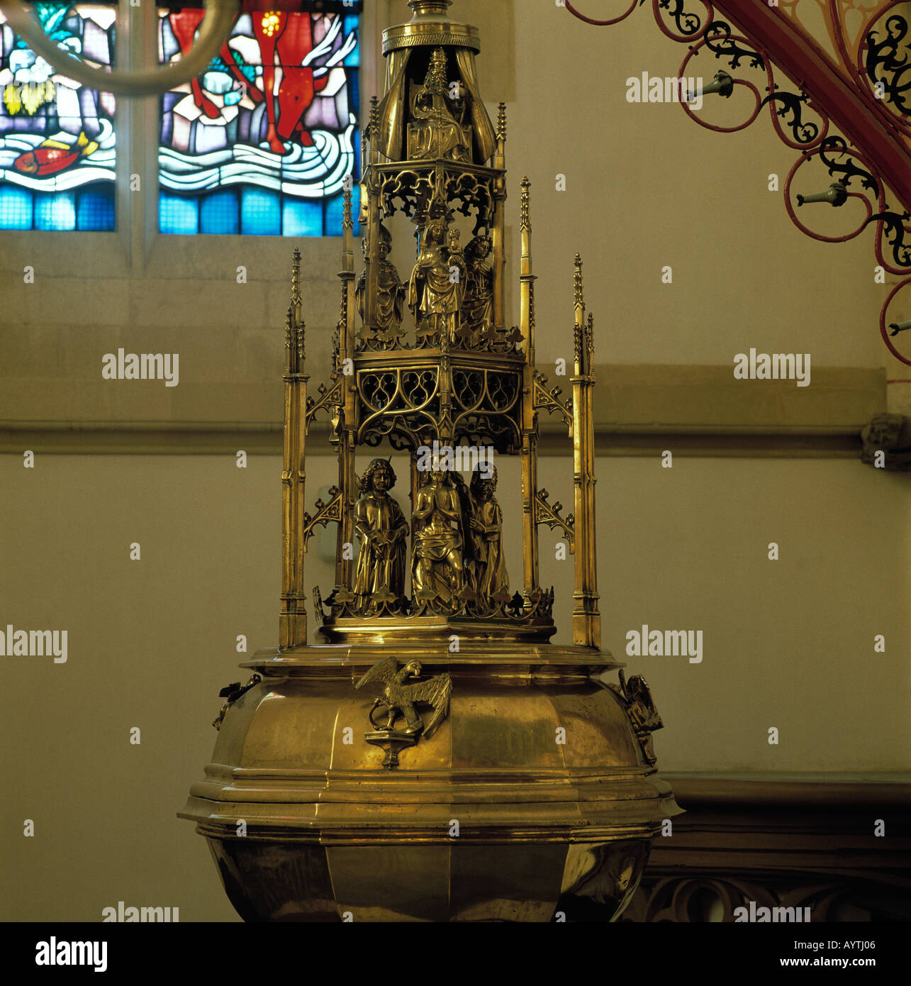 Taufbecken in der St. Jan-Kathedrale in sHertogenbosch, NordbrabantStock Photo