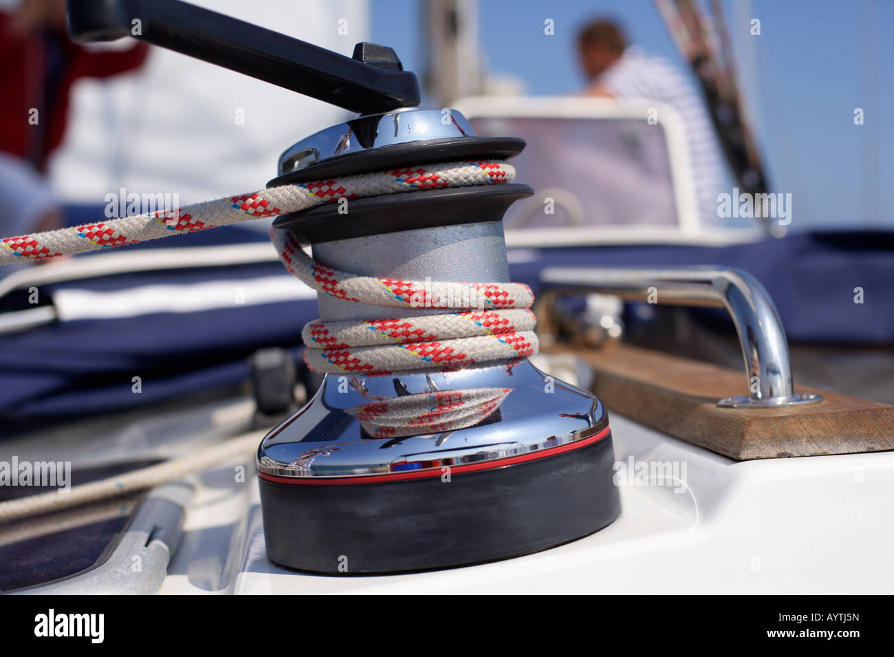 Winch on a Boat, Close-up - Stock Image