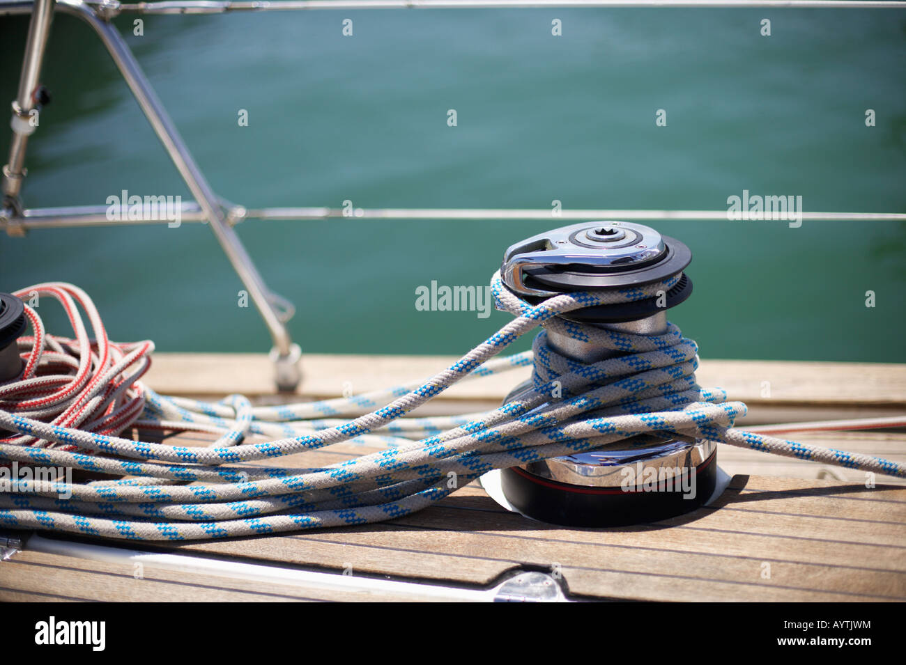 Winch on a boat - Stock Image