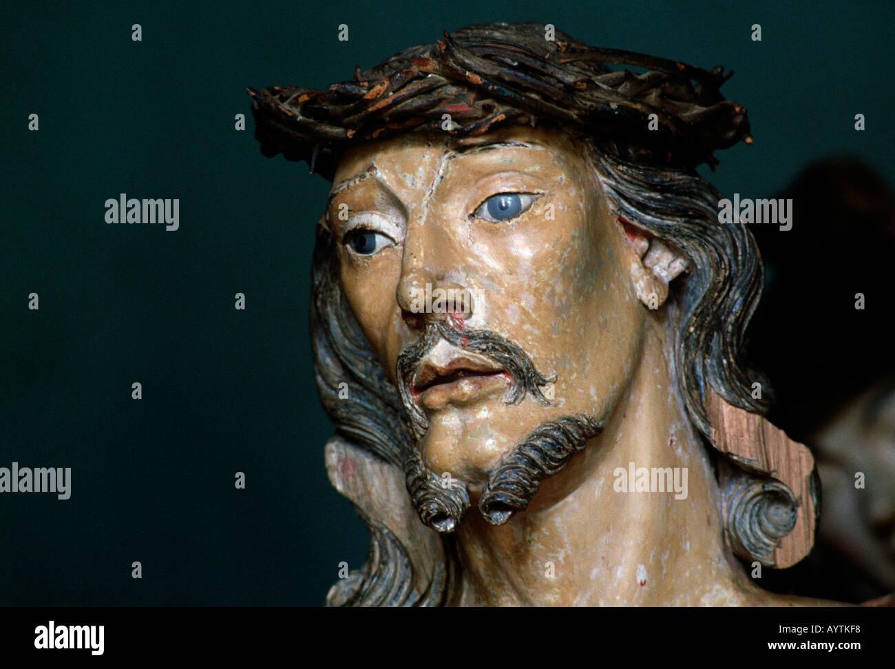 Brazil, BR-Congonhas do Campo, Minas Gerais, Bom Jesus de Matozinhos Basilica, wood carving, sculpture, Aleijadinho, Stock Photo