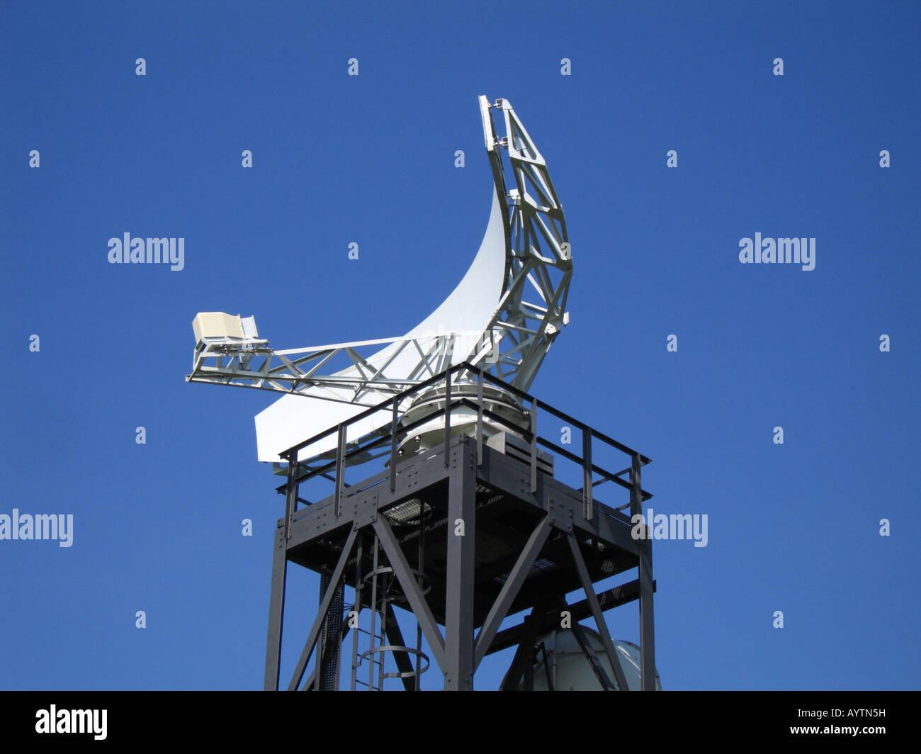Radar tower and dish Coastguard Station Fairlight Hastings Sussex England UK - Stock Image