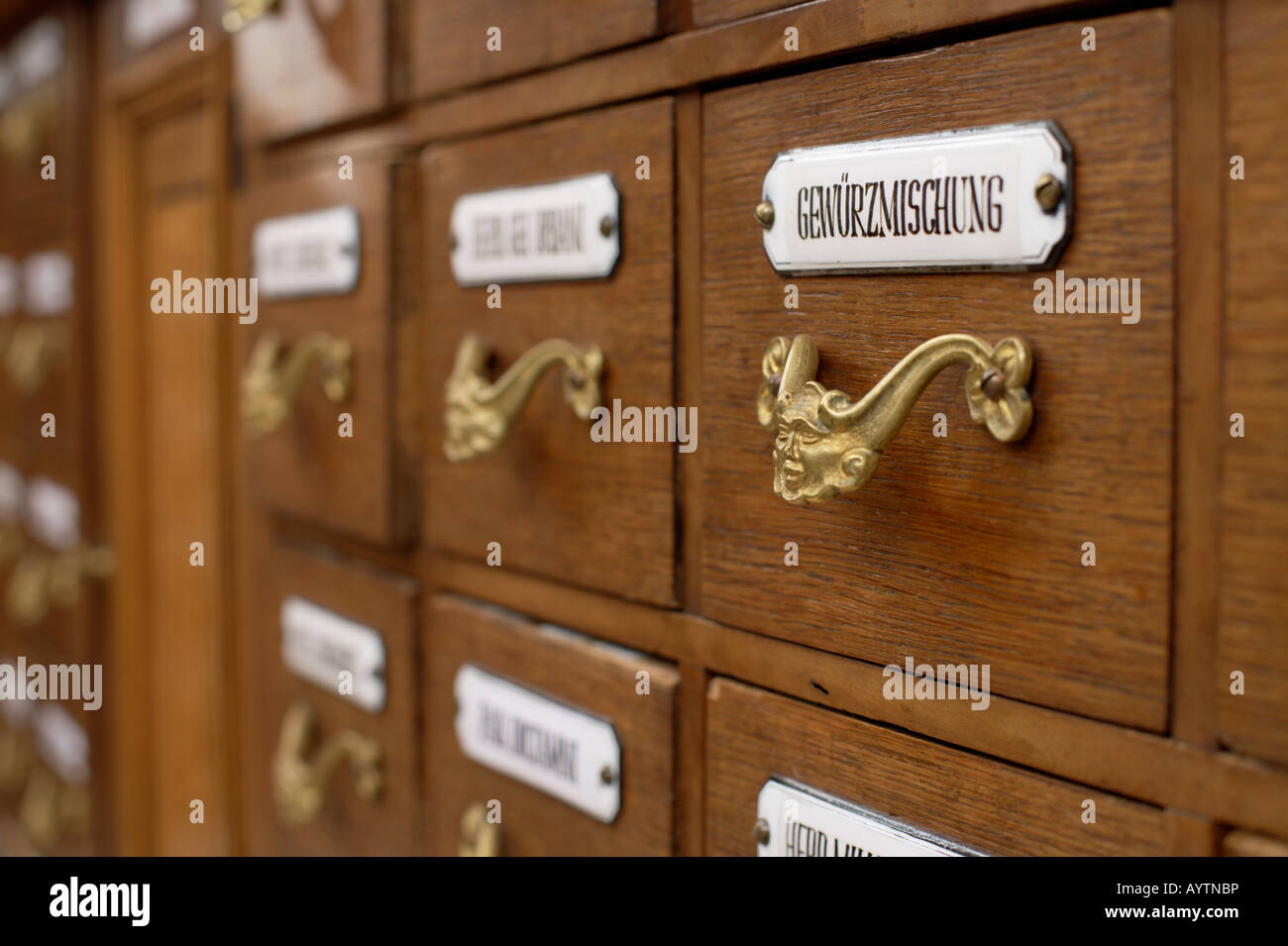 Close-up of an old apothecary cabinet Stock Photo: 17179929