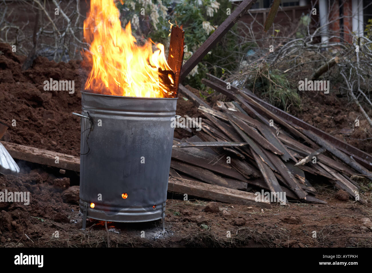 Garden Incinerator Burning Household And Garden Wooden Waste And Stock Photo Alamy