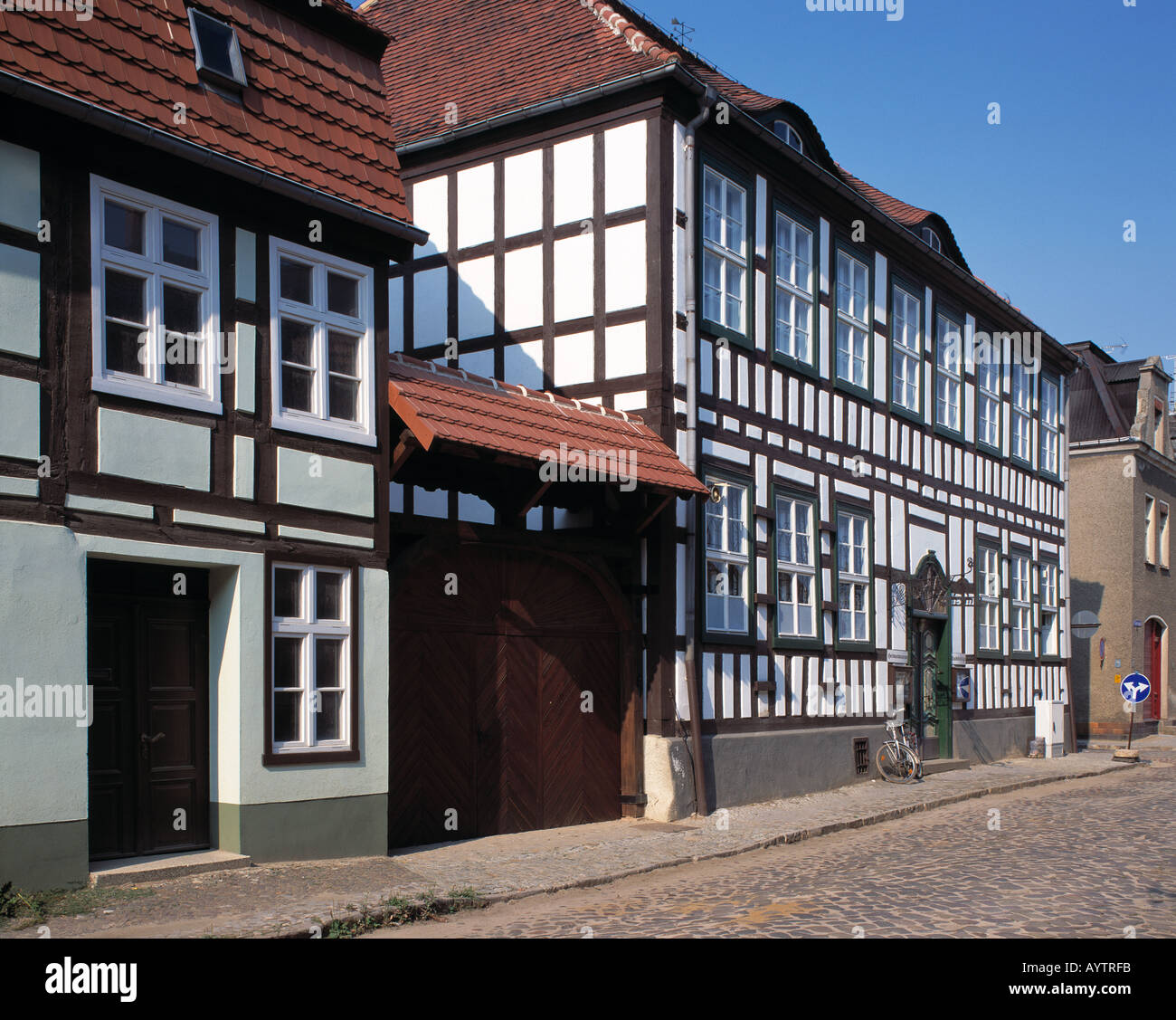 Heimatmuseum, Fachwerkhaeuser, Dahme, Niederer Flaeming, Brandenburg - Stock Image