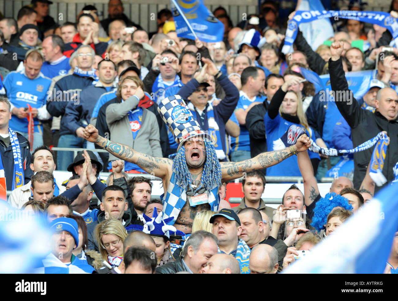 Portsmouth Football Club supporter John Westwood who changed his name by deed poll to John Portsmouth Football Club - Stock Image