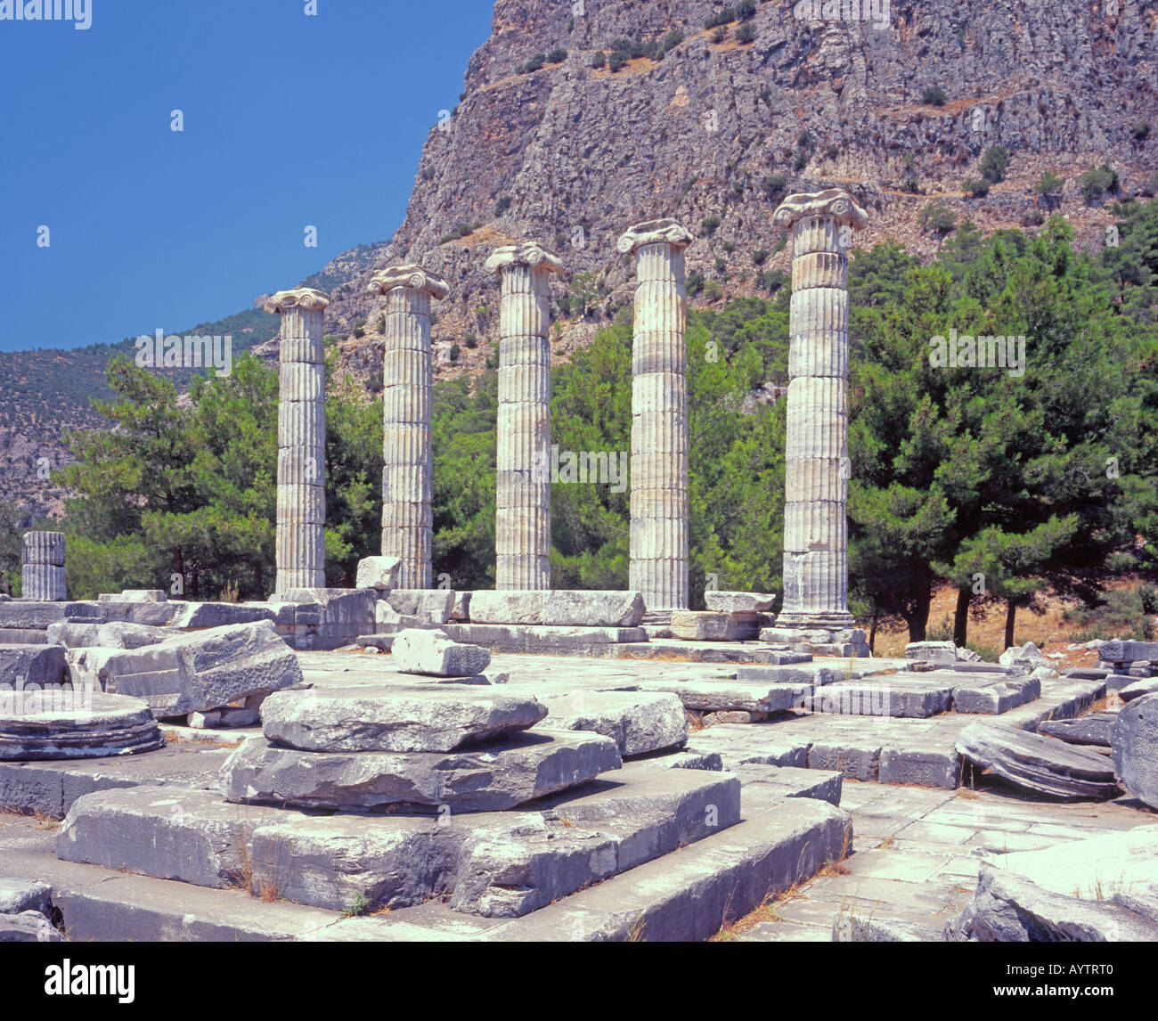 Temple of Aphrodite Ancient Greek Priene Turkey - Stock Image