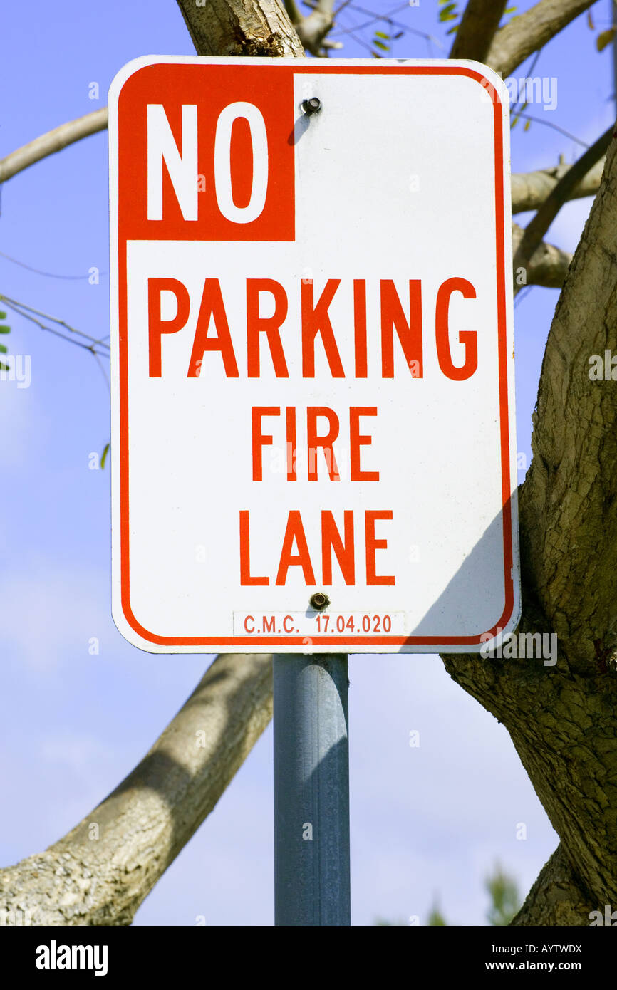 Generic sign, signage, No Parking, Fire Lane, Fire fighters, private - Stock Image
