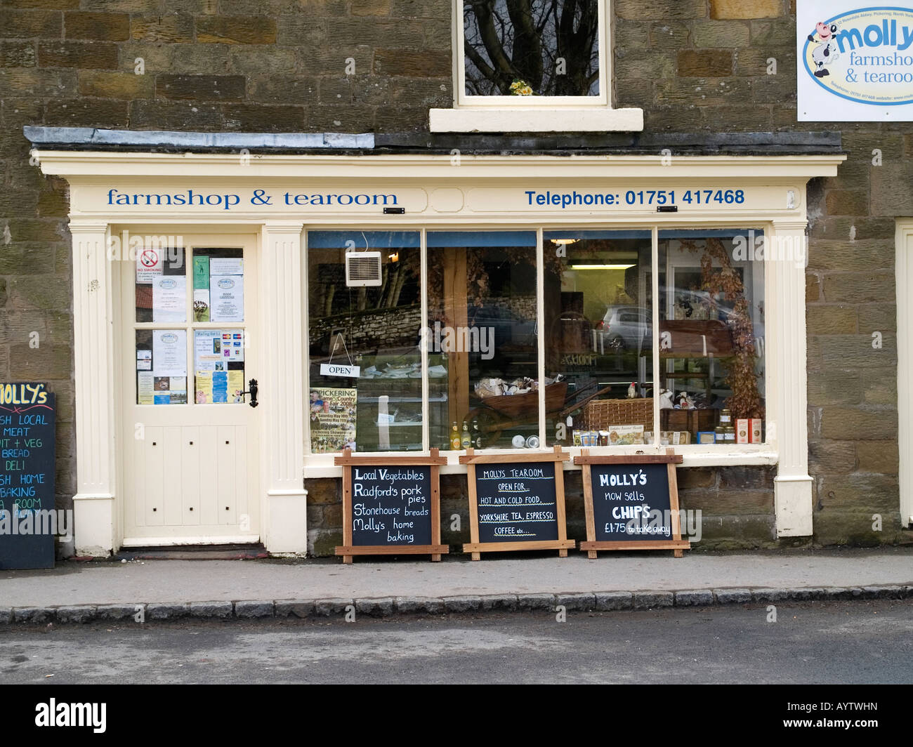 Mollys farm shop and tearoom selling local produce in the village of Rosedale Abbey North Yorkshire England - Stock Image