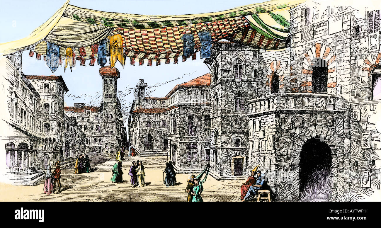 Piazza del Duomo in Florence during the Renaissance. Hand-colored woodcut - Stock Image