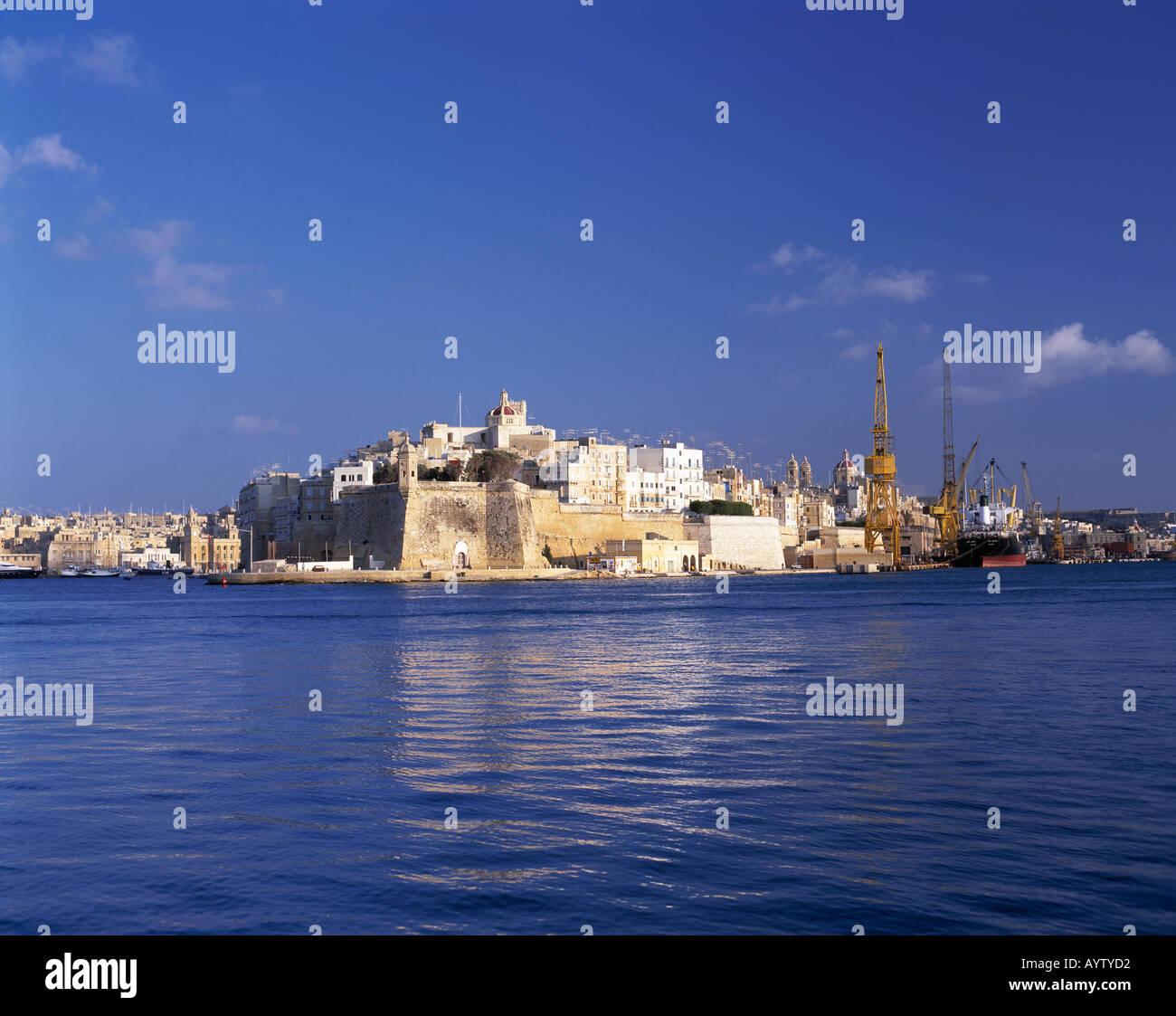 Grand Harbour, Blick auf Senglea mit Aussichtspunkt Vedette, Valletta, Malta - Stock Image