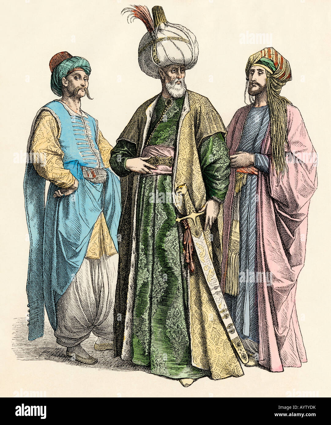 Turkish sultan and officials of the Ottoman Empire. Hand-colored print - Stock Image