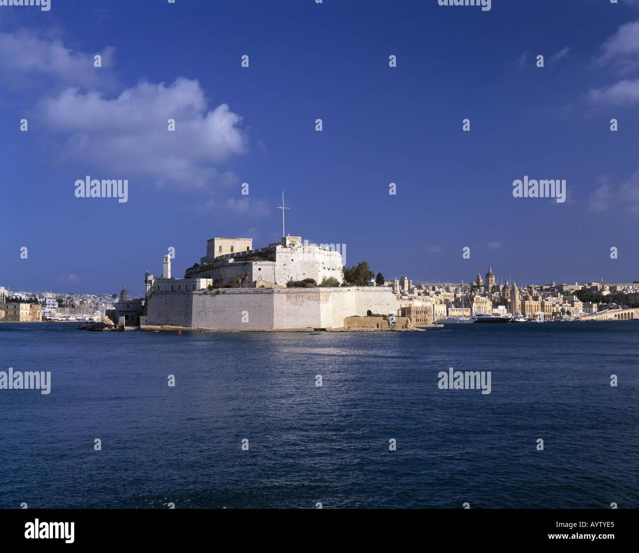 Blick auf die Befestigungsanlage von Vittoriosa mit Fort St. Angelo, Valletta, Malta - Stock Image