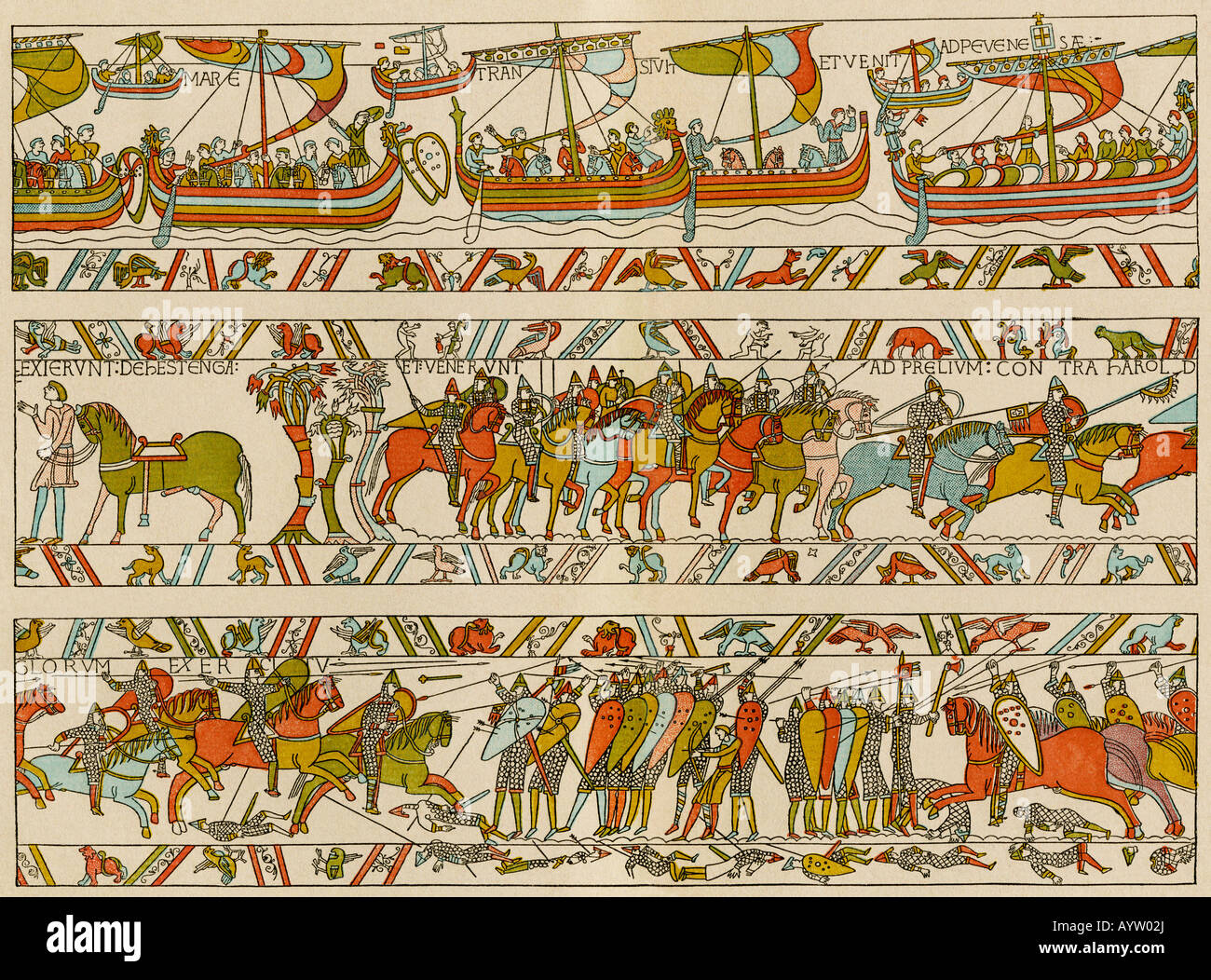 Norman invasion of England in 1066 A D. Color lithograph reproduction of a portion of the Bayeux Tapestry - Stock Image