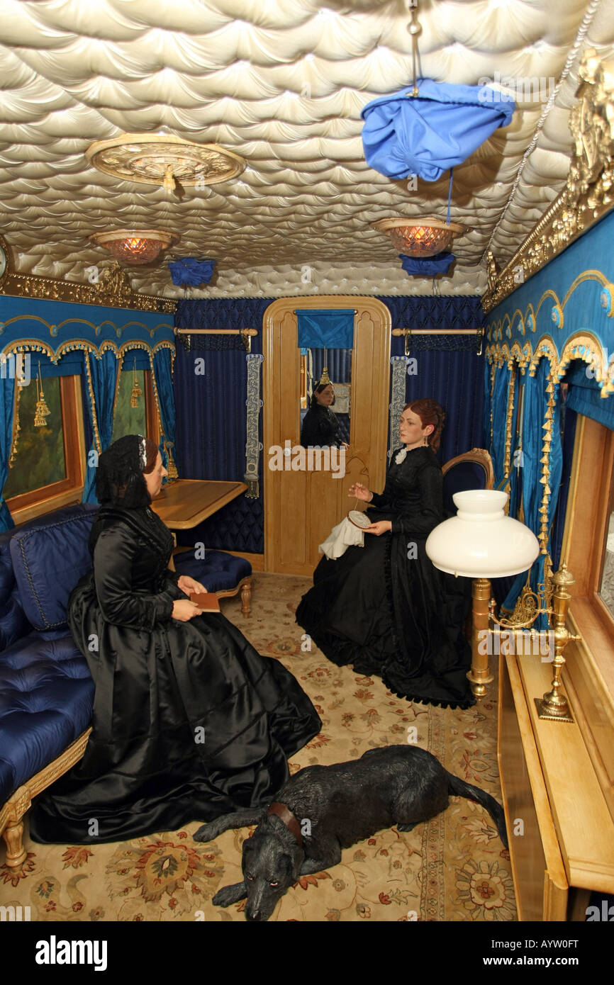 Interior of the replica of Queen Victoria's rail carriage, which now sits at the museum in Ballater, Aberdeenshire, Stock Photo