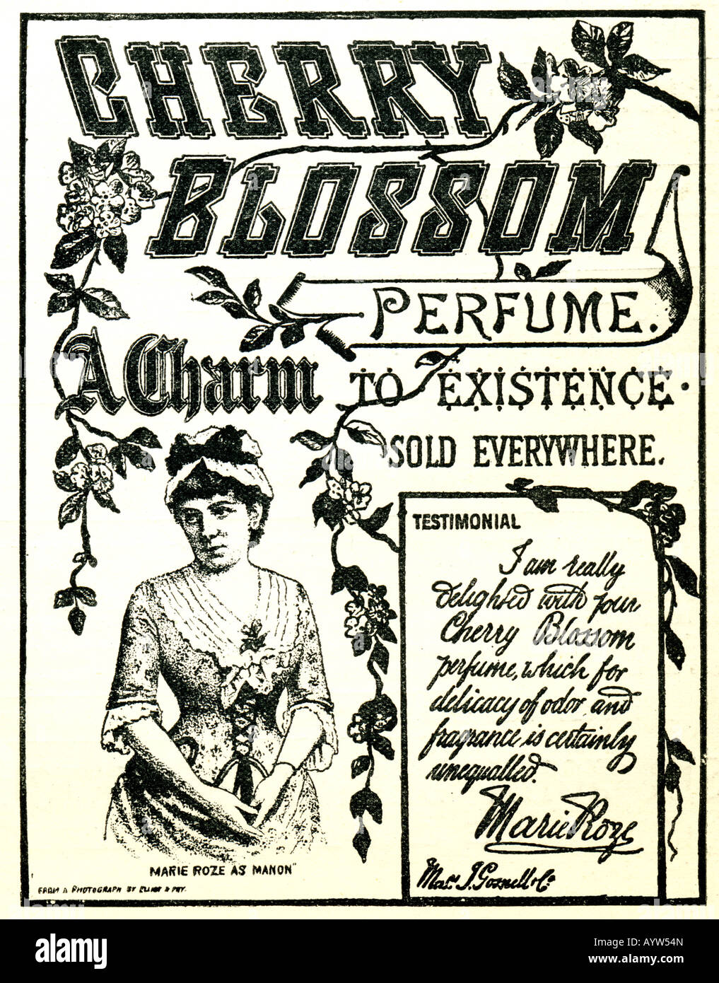 Victorian advertisement 1886 for Cherry Blossom Perfume with testimonial by actress Marie Roze FOR EDITORIAL USE - Stock Image