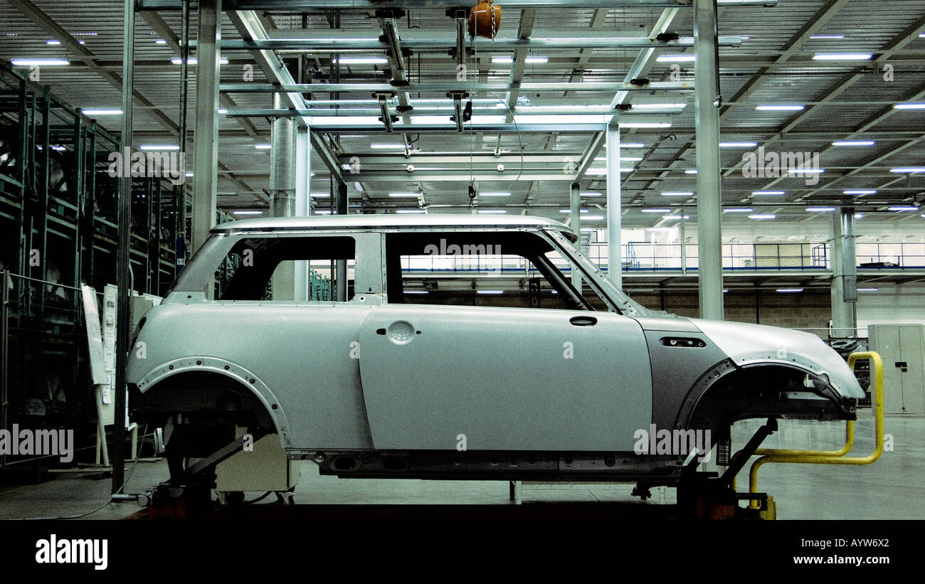 Mini being manufactured in the factory - Stock Image