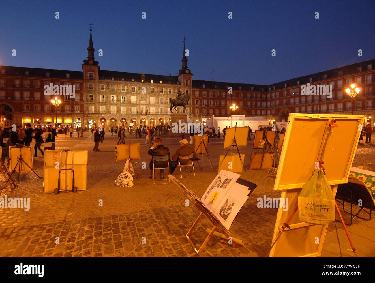 Spain Madrid capital Plaza Major Puerta del Sol night - Stock Image