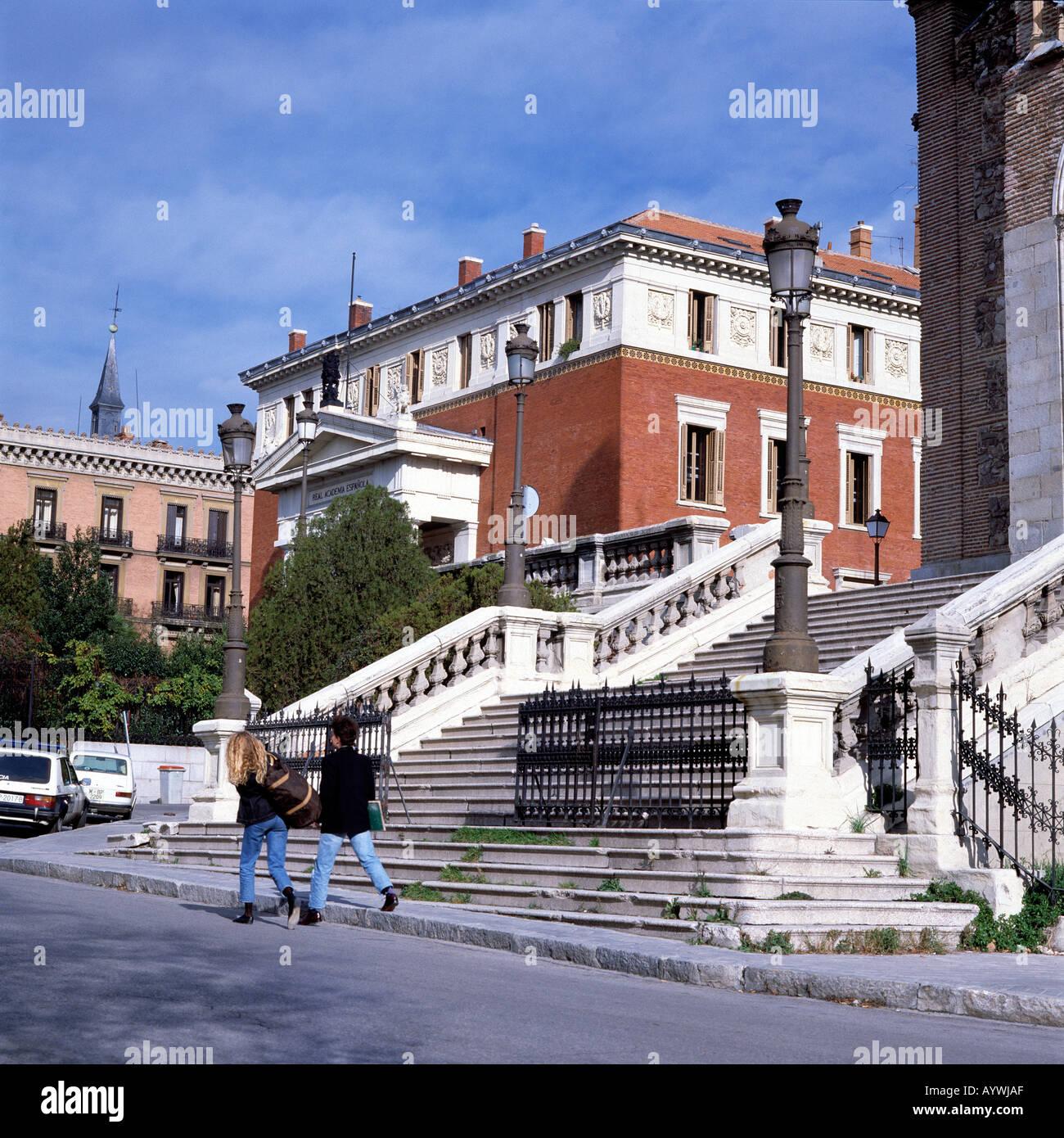 Real Academia Espanola, Koenigliche Akademie, Barocktreppe der Kirche San Jeronimo el Real, Madrid - Stock Image