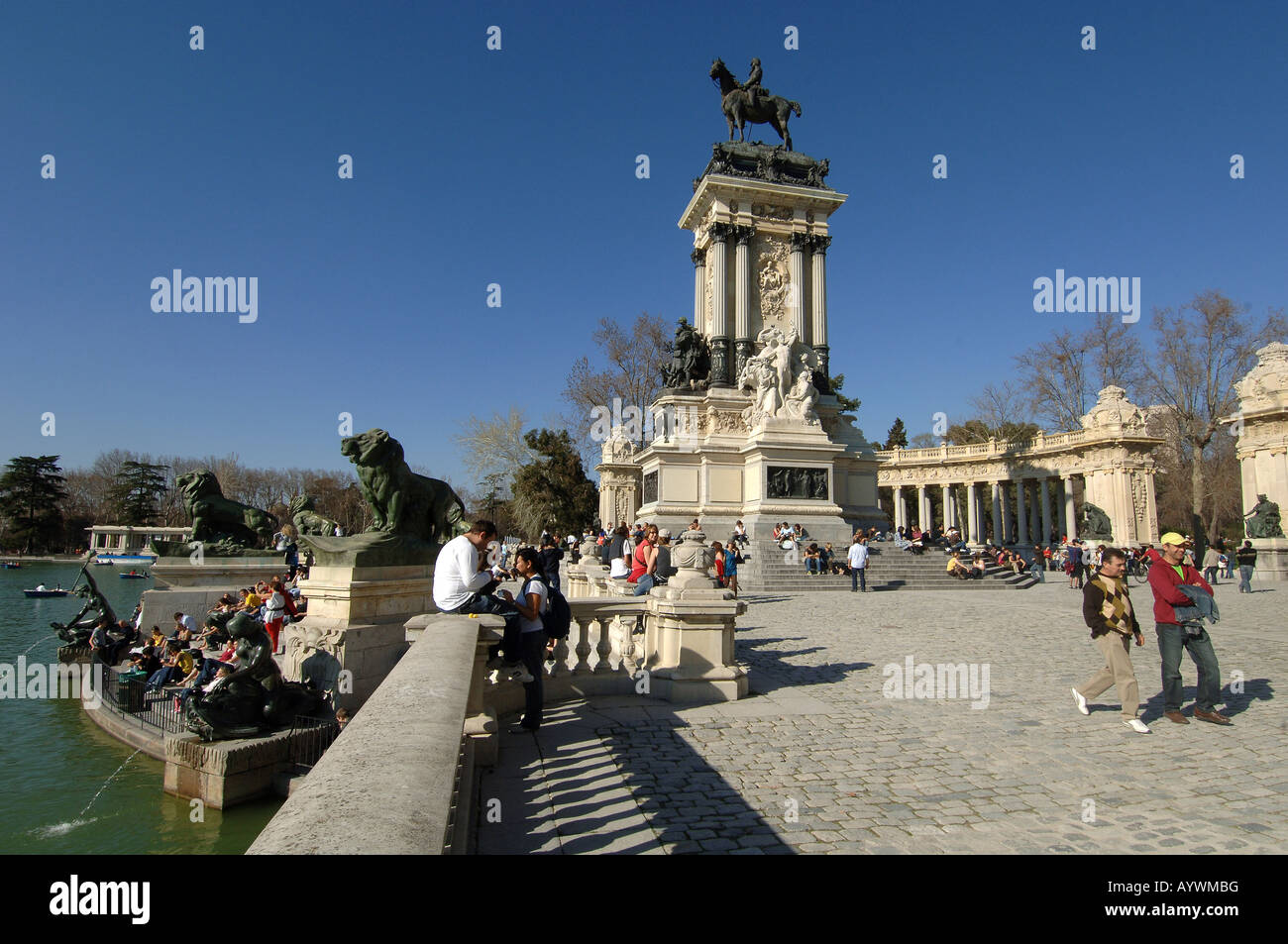 madrid Retiro Park Monument for Alfons XII Spain - Stock Image