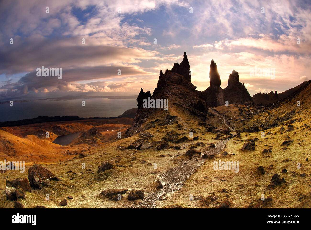 Scotland isle of skye old man of storr - Stock Image