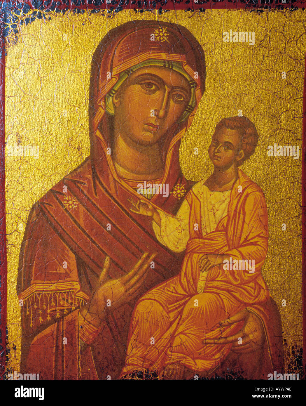 Christmas, Mary and Jesus Christ, icon painting, art - Stock Image