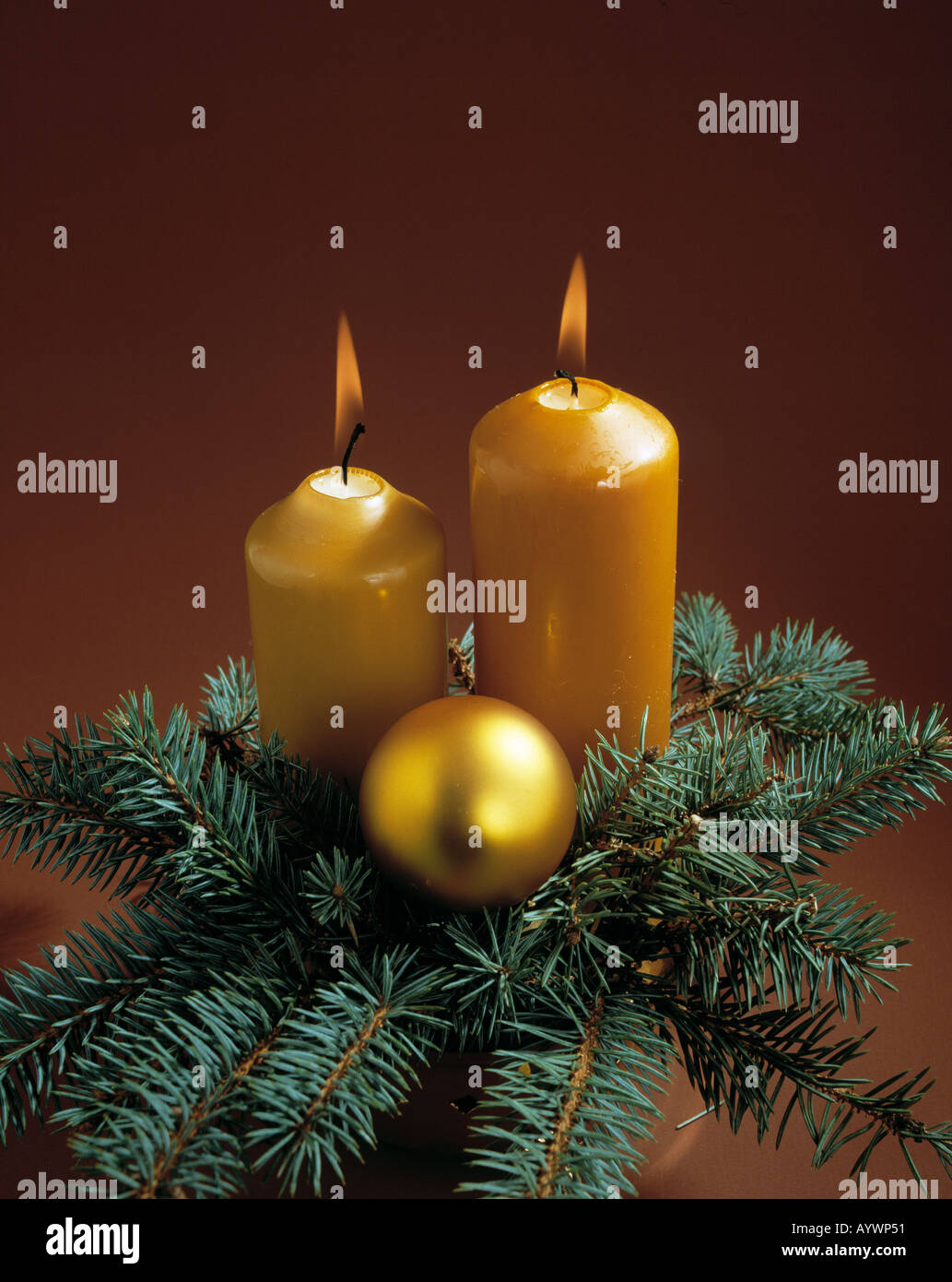 Christmas, candles, fir twigs, bauble - Stock Image