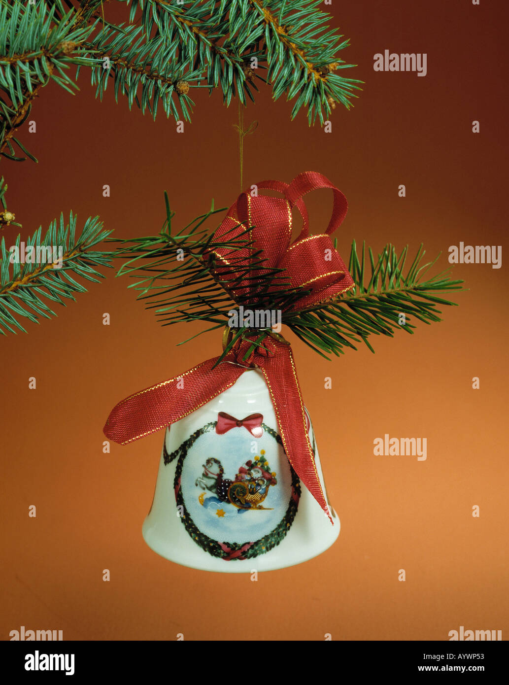 Christmas, white bell with a red ribbon, Hutschenreuther bell - Stock Image