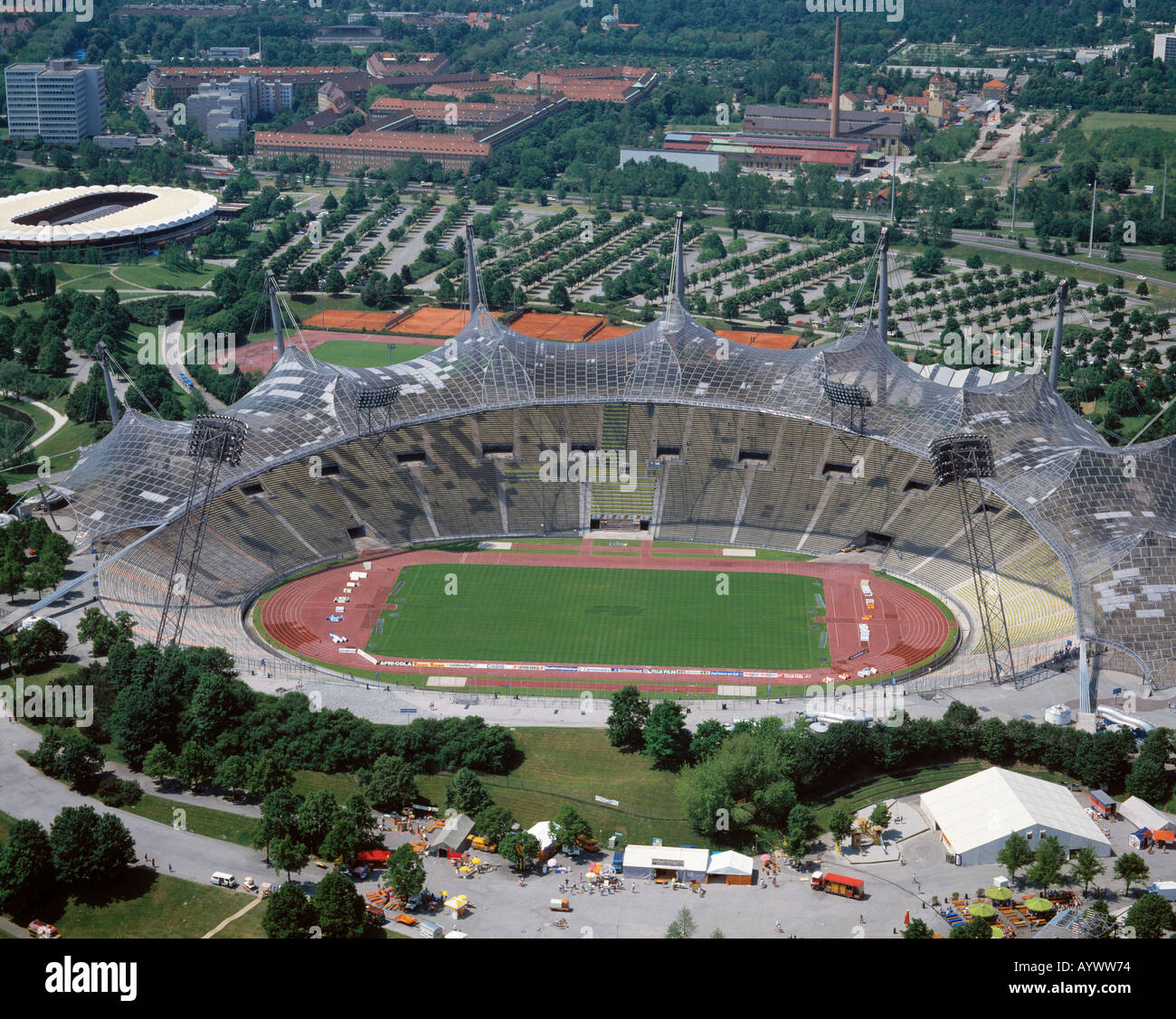 D-Munich, Isar, Upper Bavaria, view from the Olympic Tower, Olympic Stadium - Stock Image