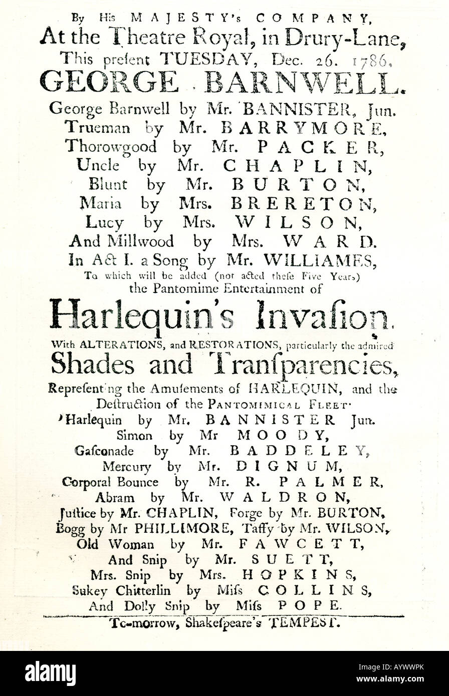 Fascimile of Drury Lane Theatre Playbill of 1786 published in 1886 in the Old Drury Lane Christmas Annual Magazine - Stock Image