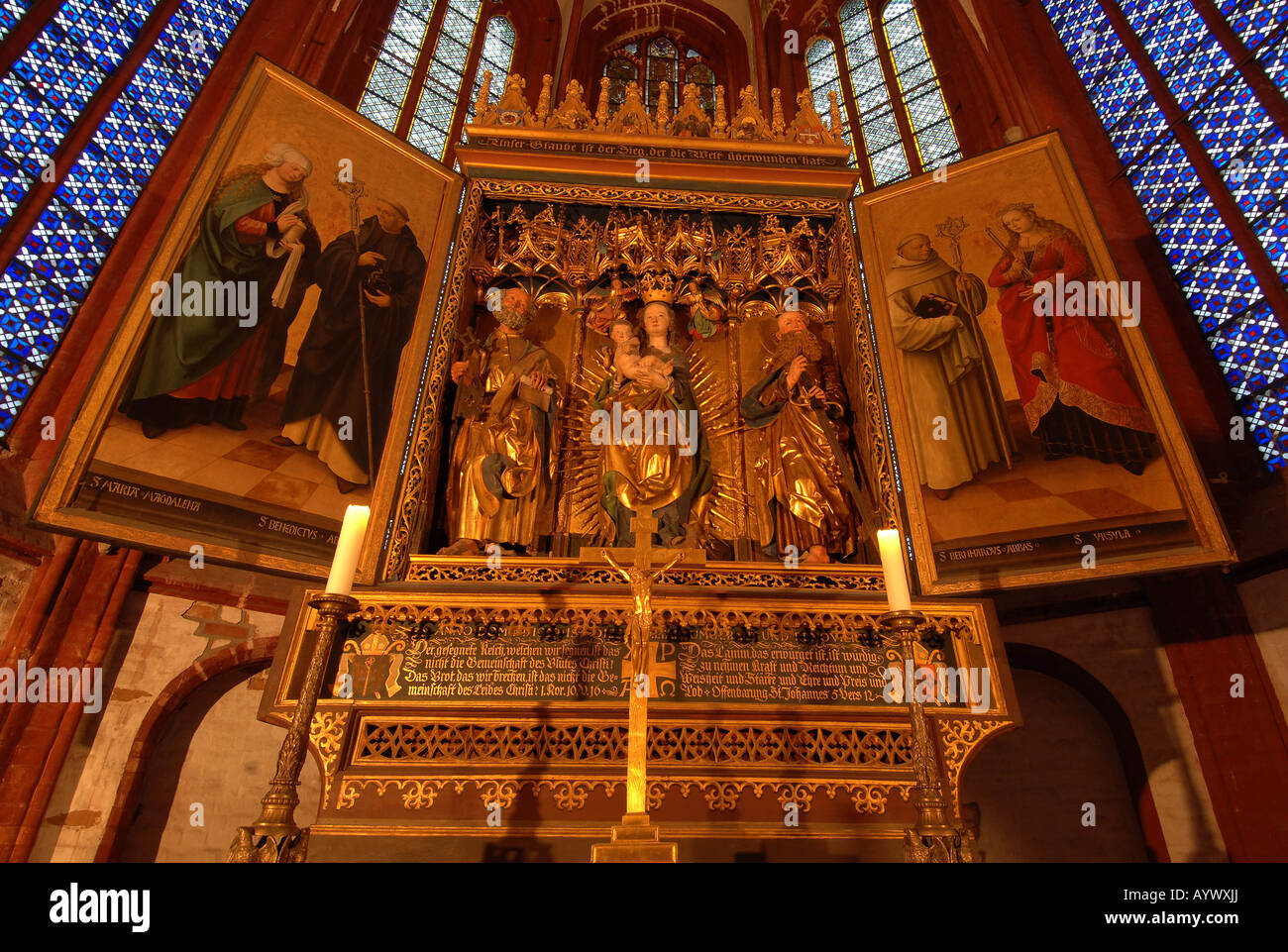 Germany sacred church Christian christianity medieval gothic giebel ogive believe chapel holy saint nave column - Stock Image