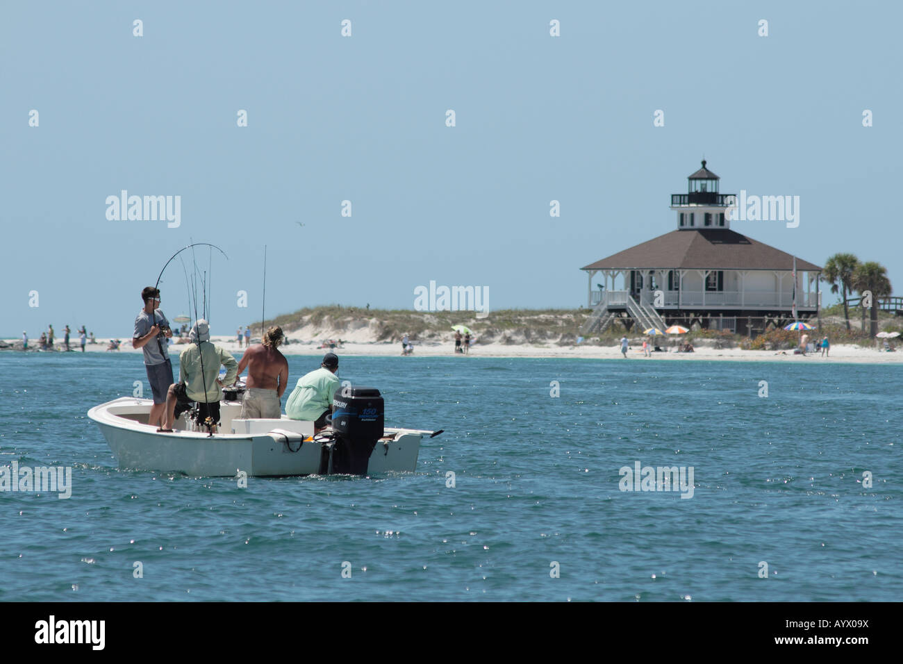 sportfishing for tarpon at famous Boca Grande, Florida, usa Stock Photo