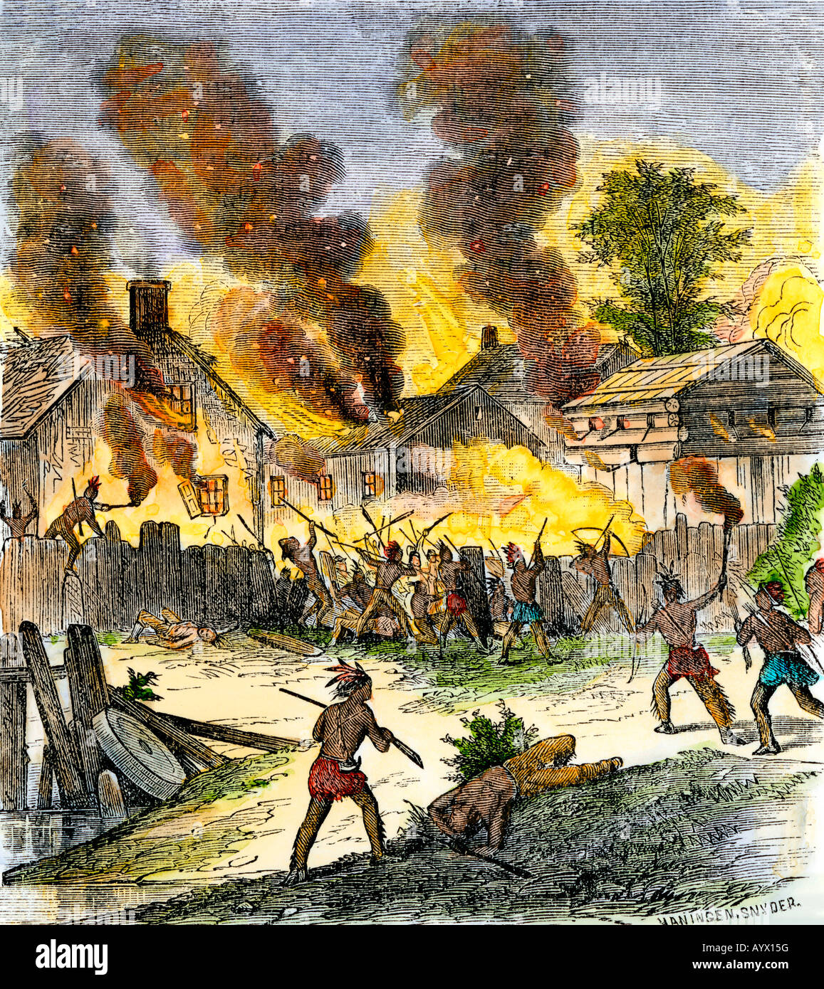 Burning of Deerfield Massachusetts during an attack by Native Americans 1704. Hand-colored woodcut - Stock Image