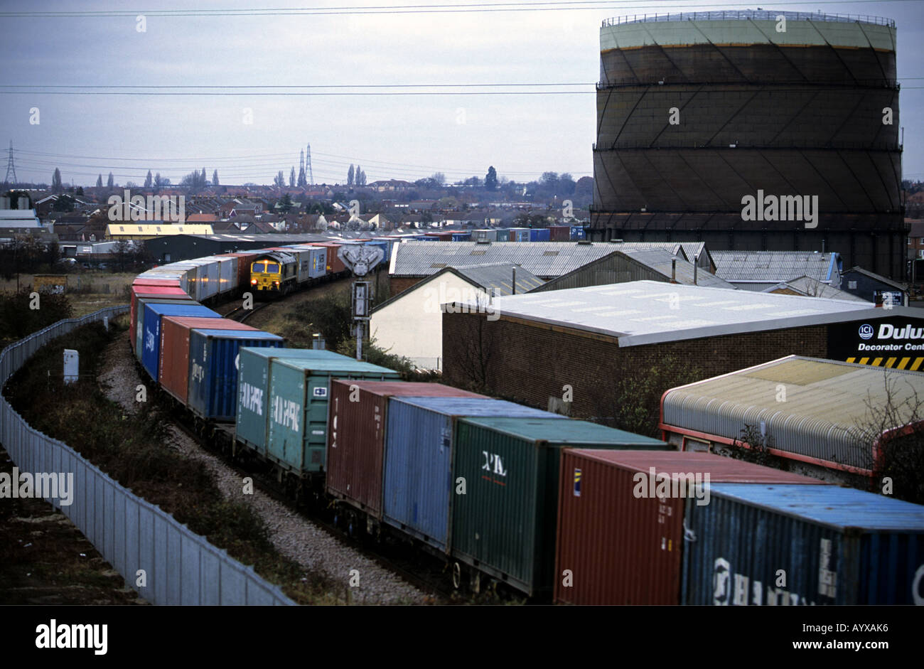 Frieight trains on a passing loop in Ipswich on the branch line to the port of Felixstowe, Suffolk, UK. - Stock Image