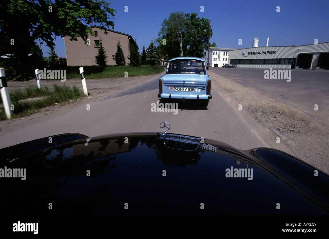GERMANY DDR COLD WAR MERCEDES TRABANT TRABBIE OLD AND NEW - Stock Image