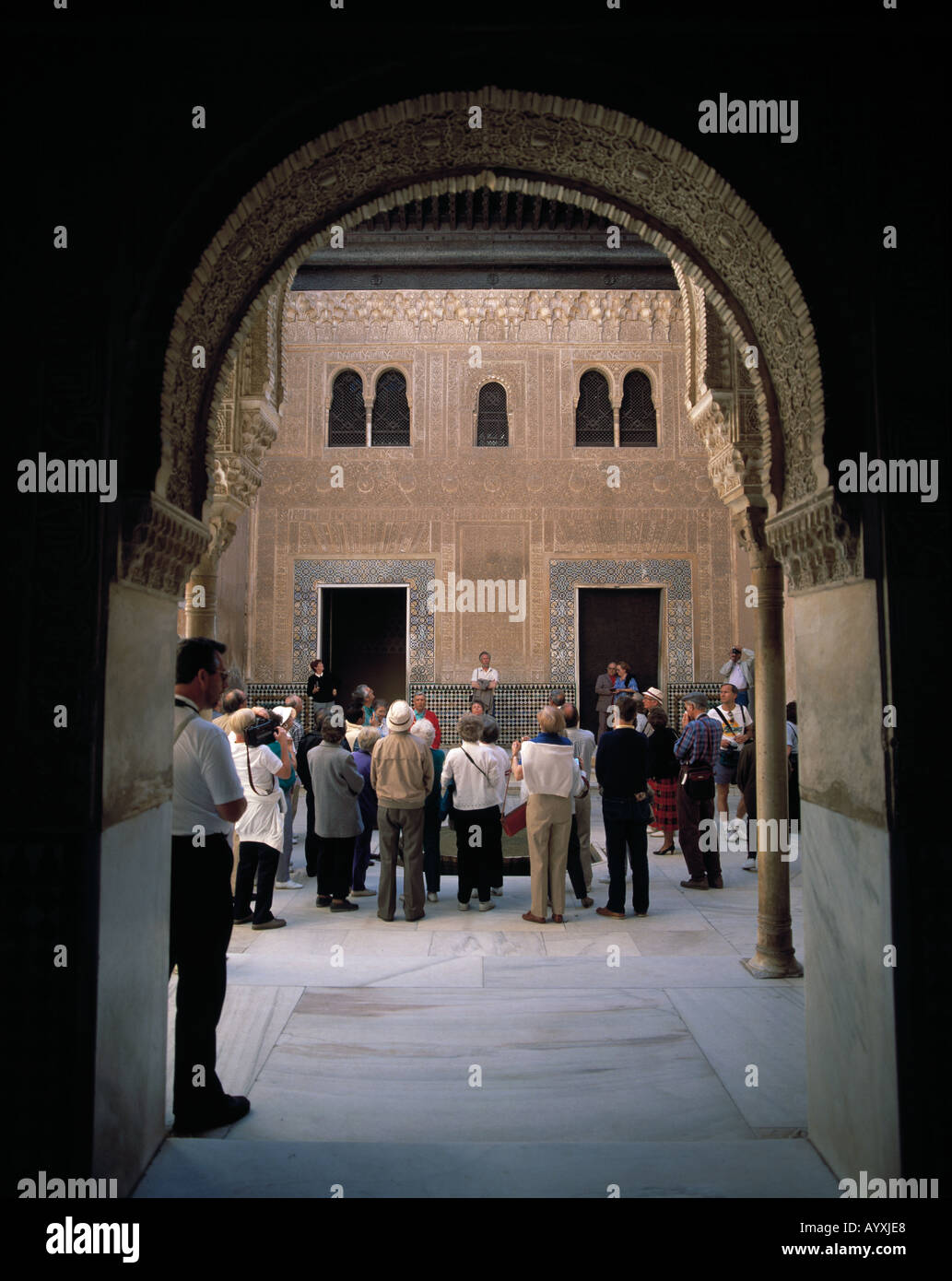 tourists group, group of tourists, Spain, E-Granada, Andalusia, Alhambra, UNESCO World Heritage Site - Stock Image