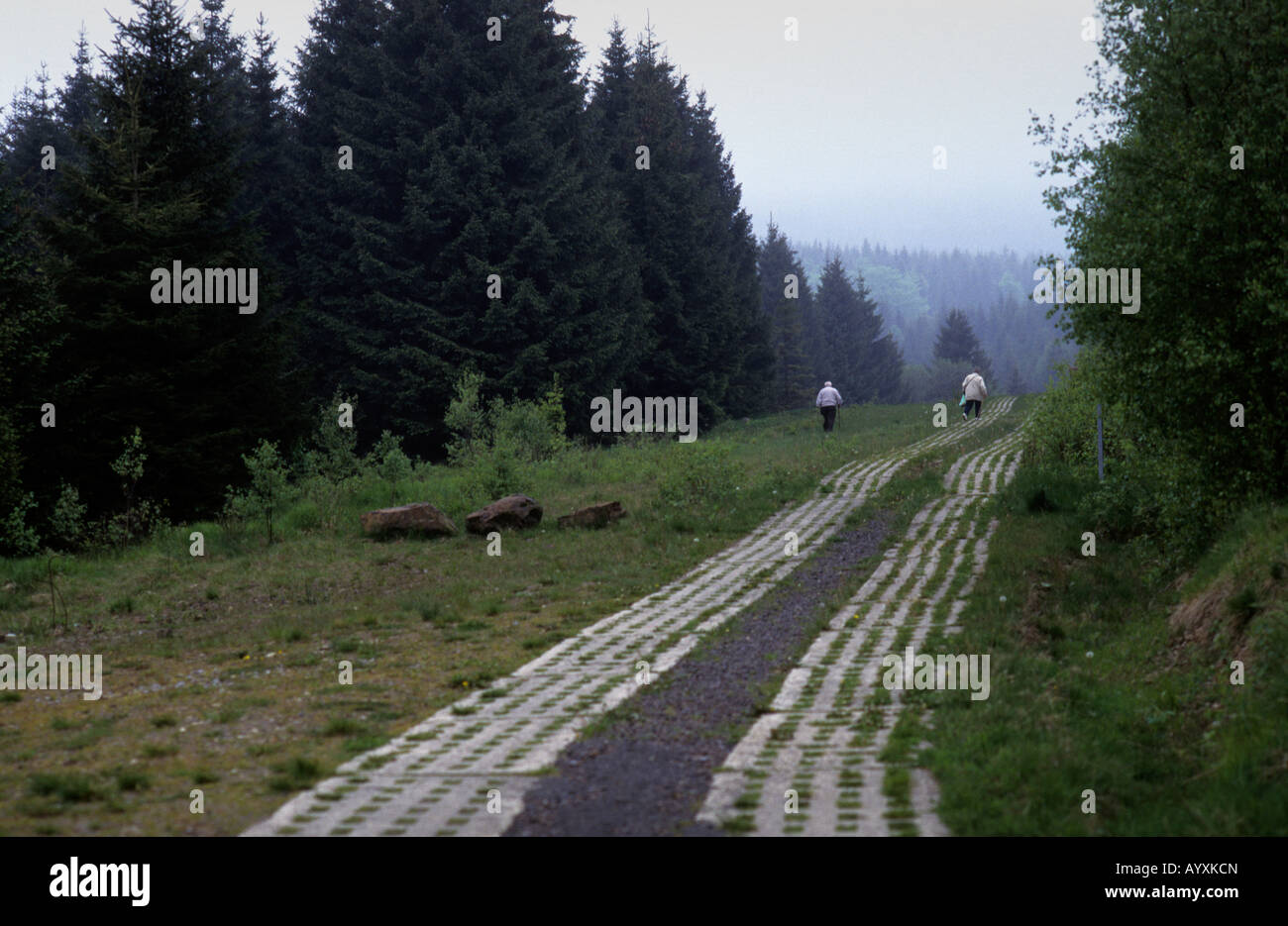 GERMANY DDR BORDER TANK TRACKS WALKING HARZ Stock Photo