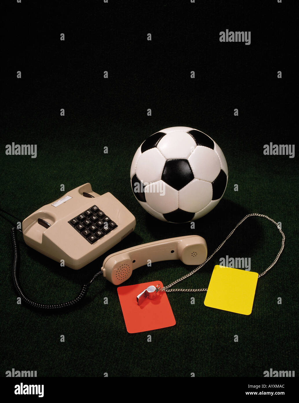 sports, football, ball, red and yellow card, referee whistle, telephone, receiver, symbol, symbolic, symbolism, - Stock Image