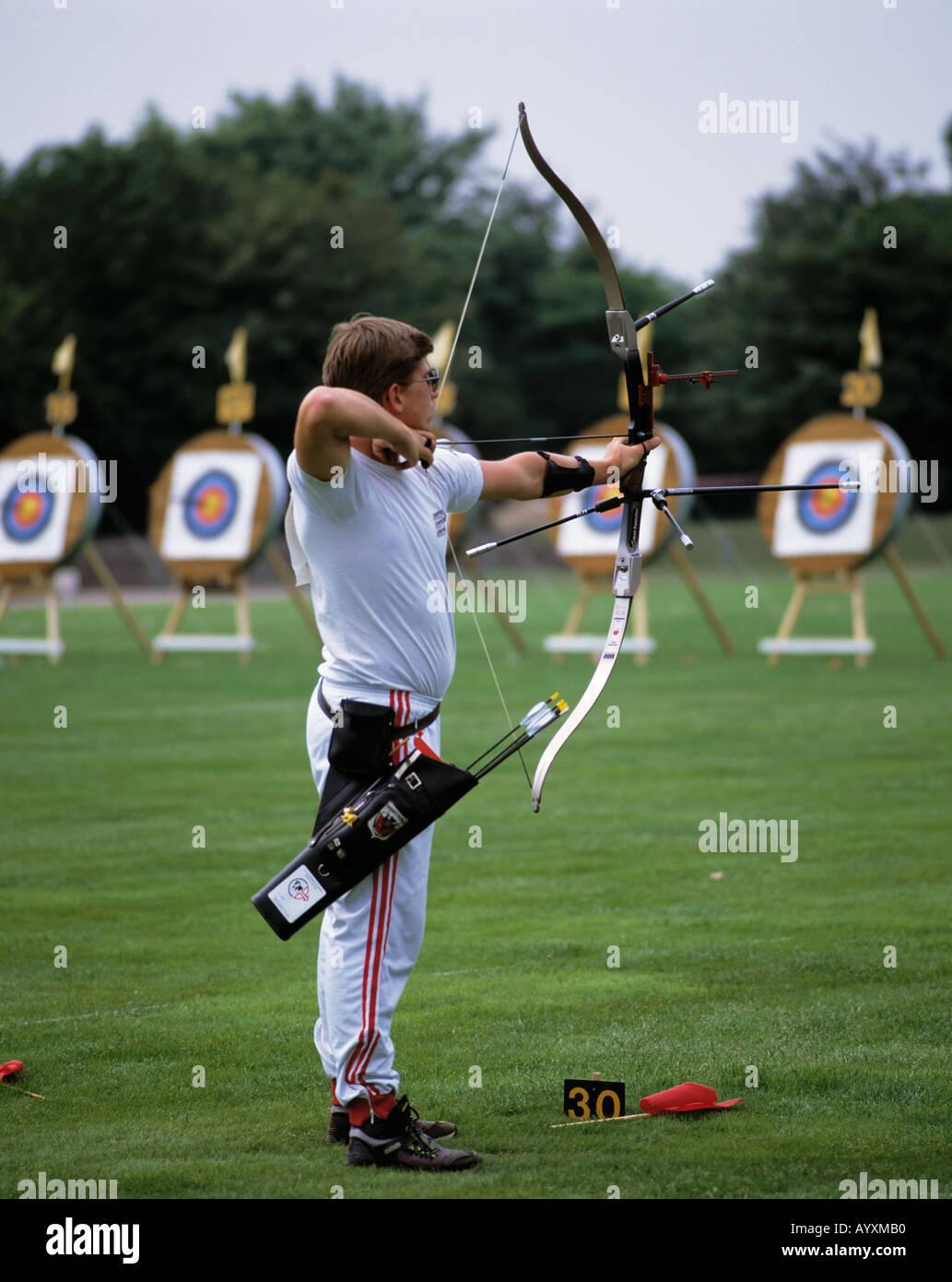 sports, archery, men, marksman, marksmen, shot, shoot, target Stock Photo