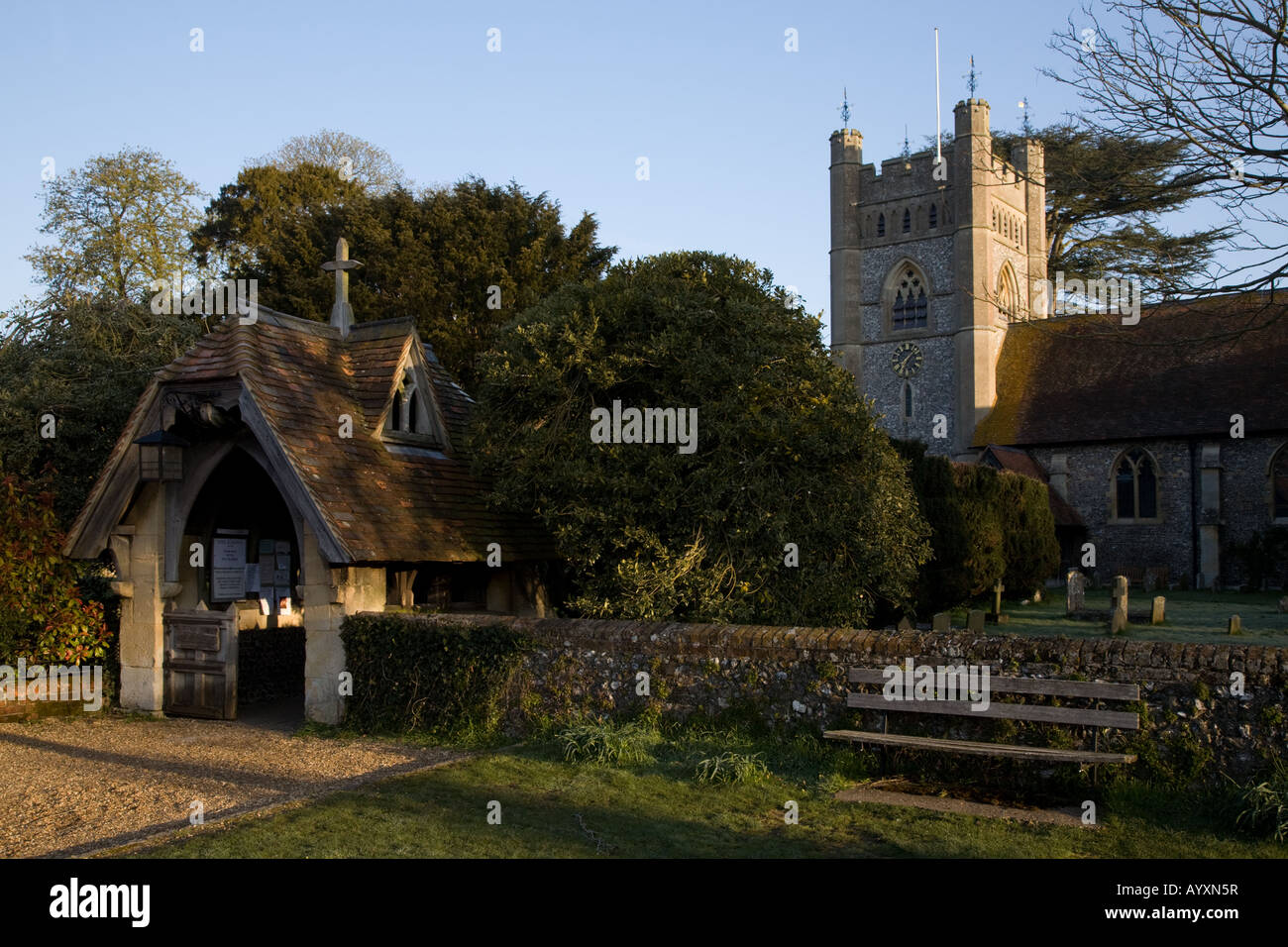 Lychgate entrance to St Mary the Virgin Hambleden rural village parish church - Stock Image