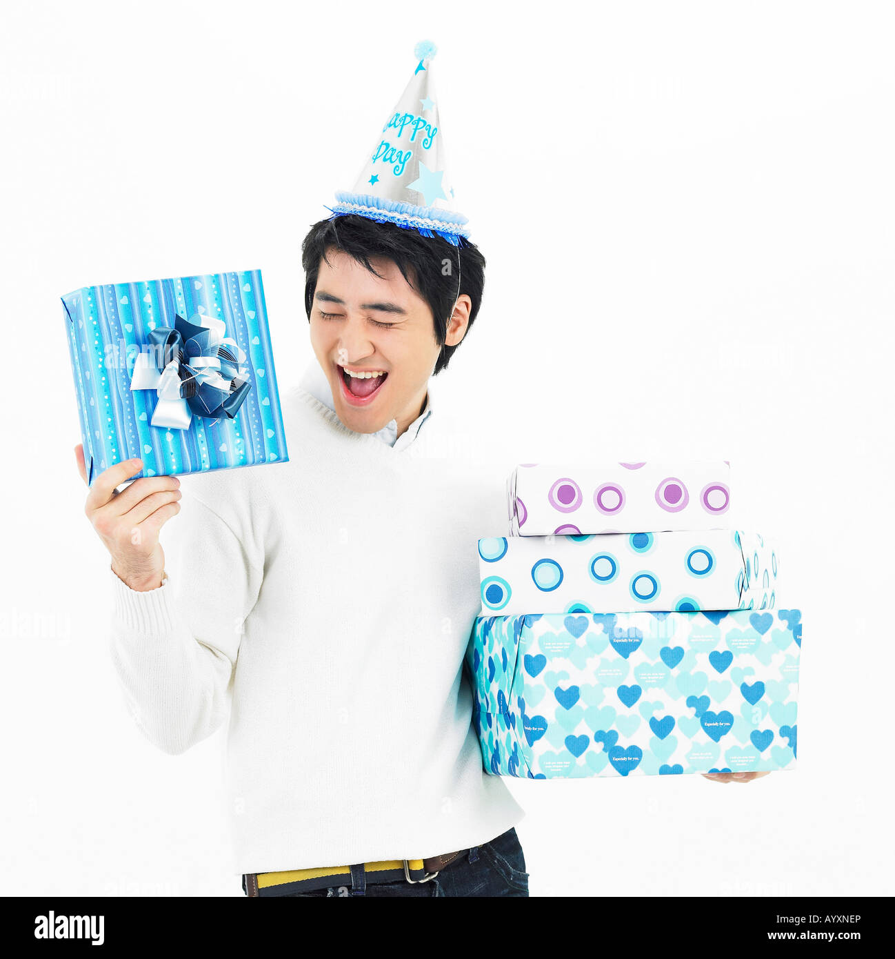 d1255d0c a man put a peaked hat with holding gift case Stock Photo: 17198781 ...