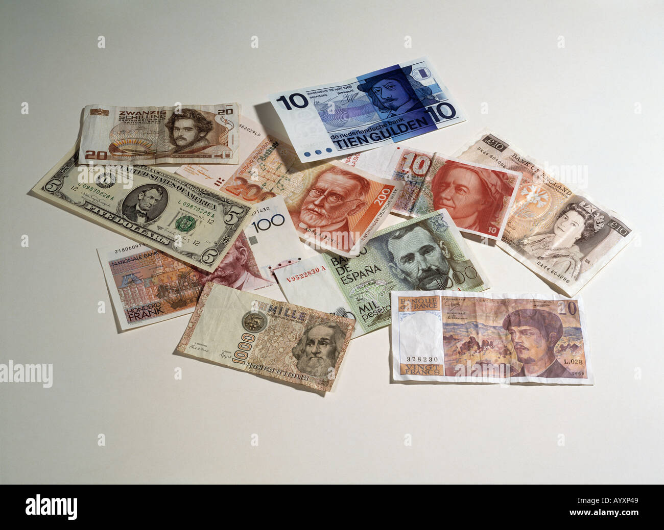 international bank notes, money, currency - Stock Image